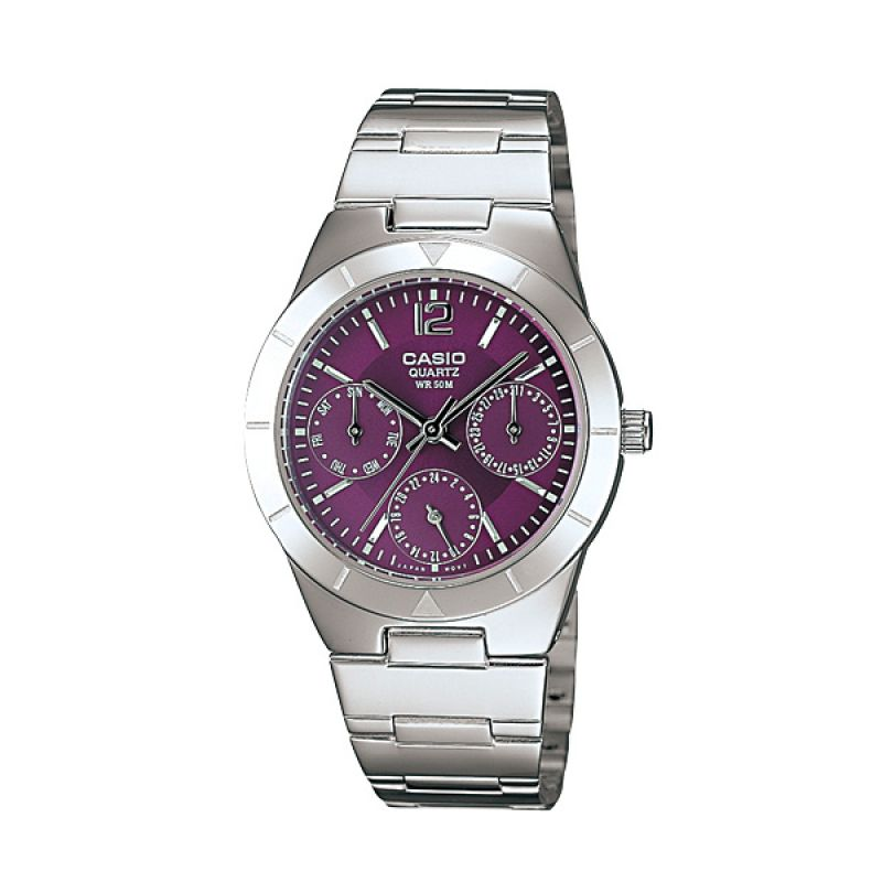 Casio Enticer LTP-2069D-6A Silver Purple Jam Tangan Wanita