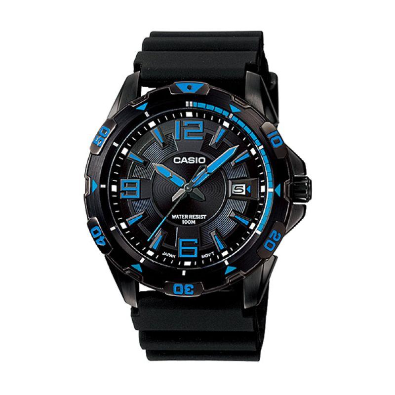Casio Enticer MTD-1065B-1A1V Black Blue Jam Tangan Pria