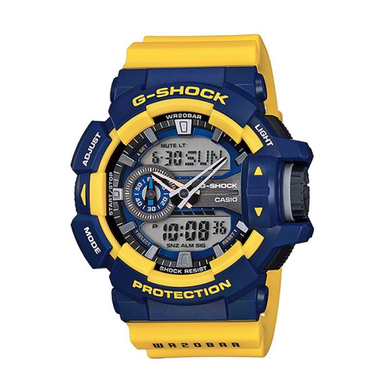 CASIO G-SHOCK GA-400-9B Blue Yellow Jam Tangan Pria [Limited Edition]