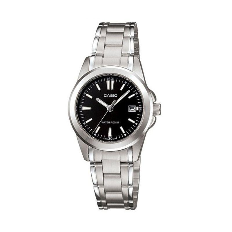 Casio LTP-1215A-1A2 Silver Black Jam Tangan Wanita