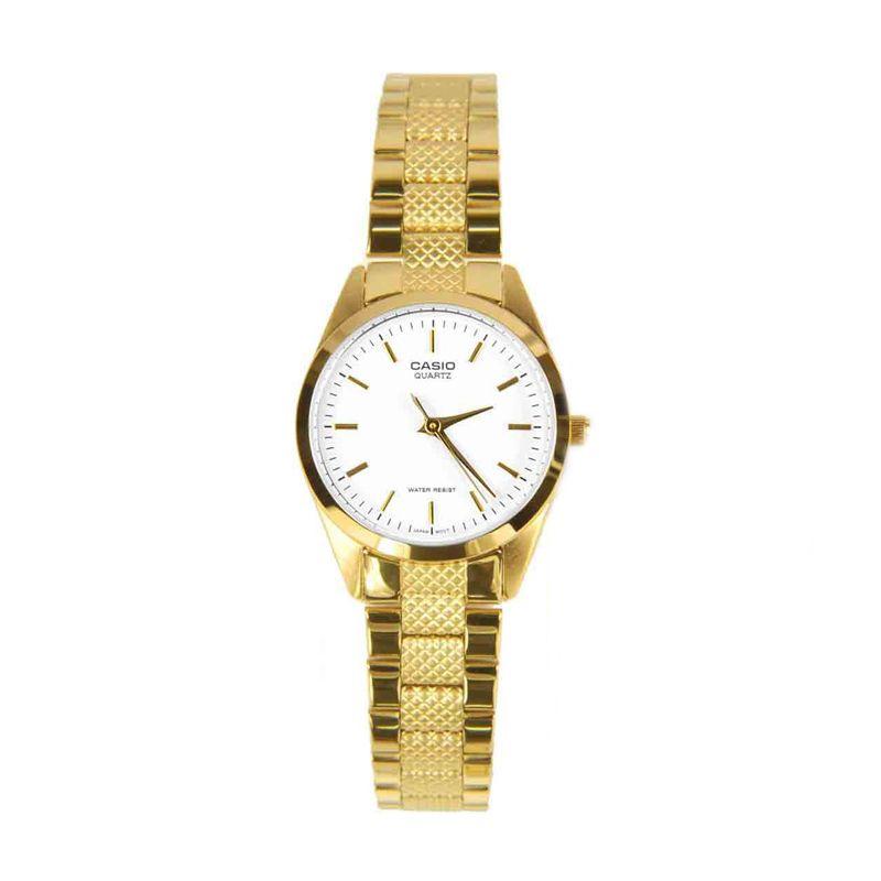 CASIO LTP-1274G-7ADF Gold White Jam Tangan Wanita