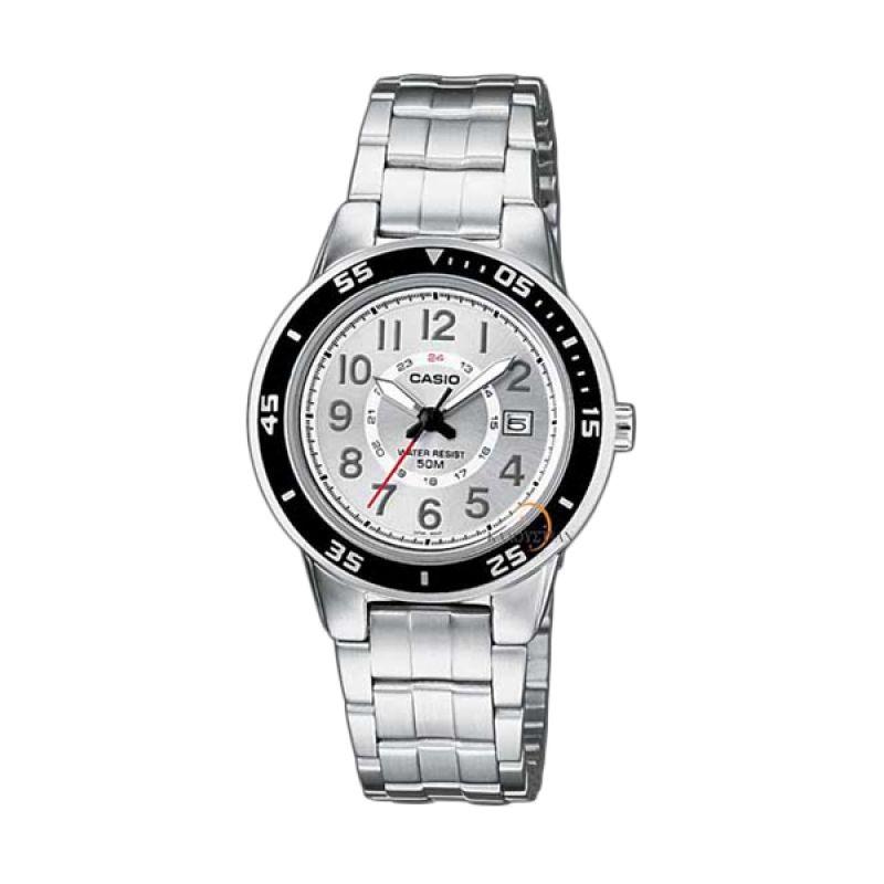 CASIO LTP-1298D-7B Silver Black Bezel Jam Tangan Wanita