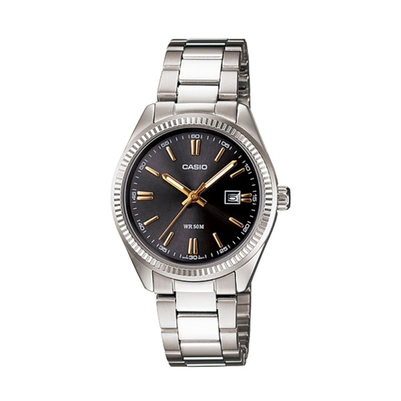 Casio LTP-1302D-1A2 Silver Black Jam Tangan Wanita