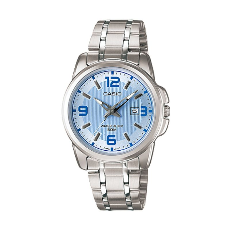 CASIO LTP-1314D-2AV Silver Blue Jam Tangan Wanita
