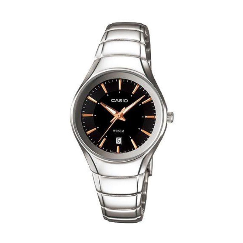 CASIO LTP-1325D-1AVDF Silver Black Jam Tangan Wanita