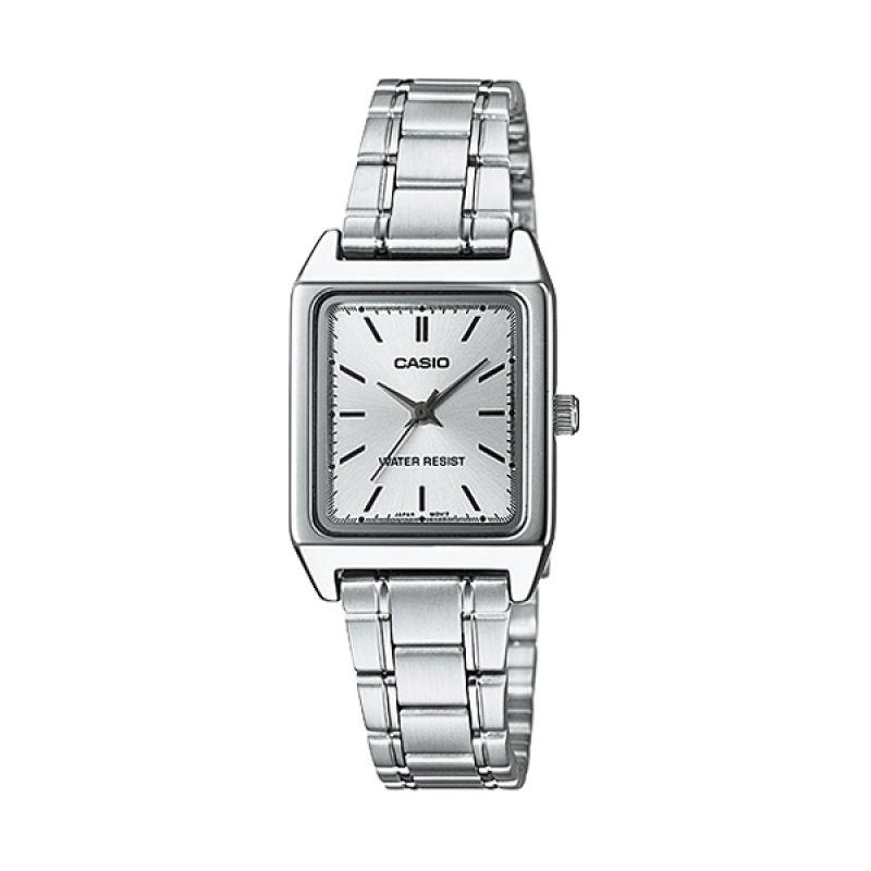 CASIO LTP-V007D-7E Silver White Jam Tangan Wanita