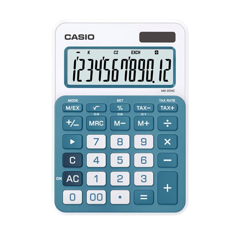 Casio MS-20NC-BU Stylish and Colourful Kalkulator [12 Digit]