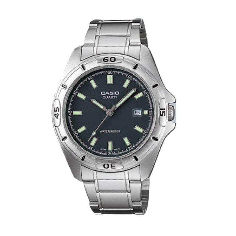 CASIO MTP-1244D-8A Silver Black Jam Tangan Pria
