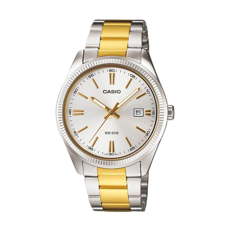 CASIO MTP-1302SG-7A Gold Silver Jam Tangan Pria