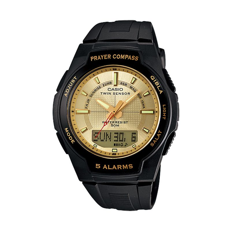 CASIO Prayer Compass CPW-500H-9AV Black Gold Jam Tangan Pria