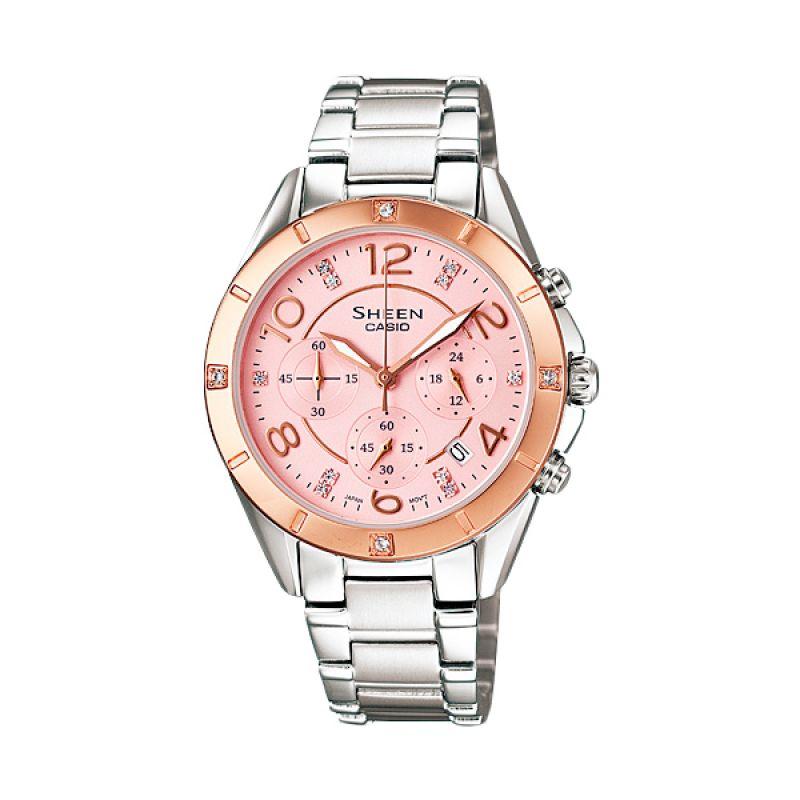 Casio Sheen SHE-5021SG-4A Silver Pink Jam Tangan Wanita