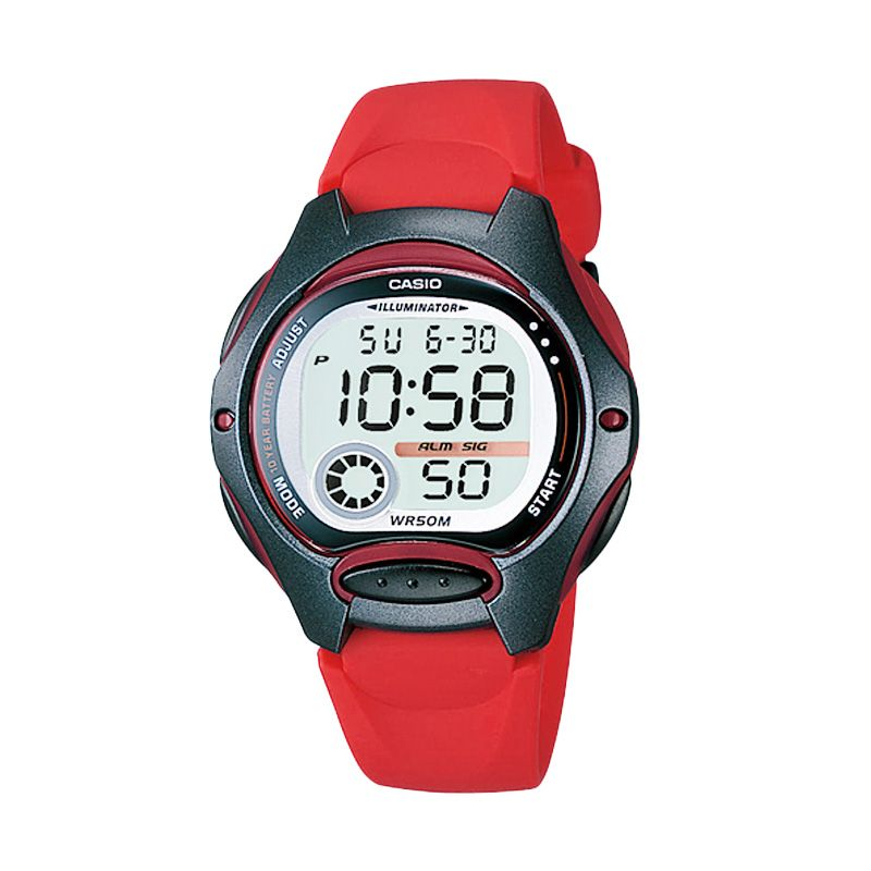 CASIO Sporty LW-200-4AV Red Black Jam Tangan Wanita