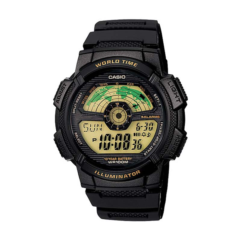 harga CASIO AE-1100W-1B World Time Black Sports Jam Tangan Pria - Black Blibli.com
