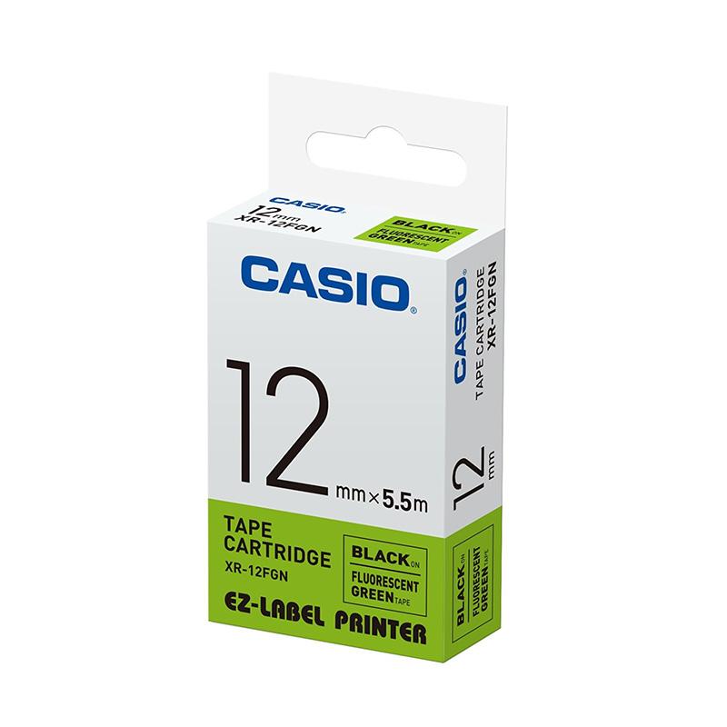 Casio XR-12FGN Label Printer - Black On Fluorescent Green [12 mm]