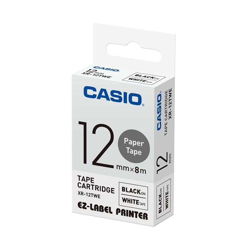 Casio XR-12TWE Label - Black On White Paper Tape [12 mm]