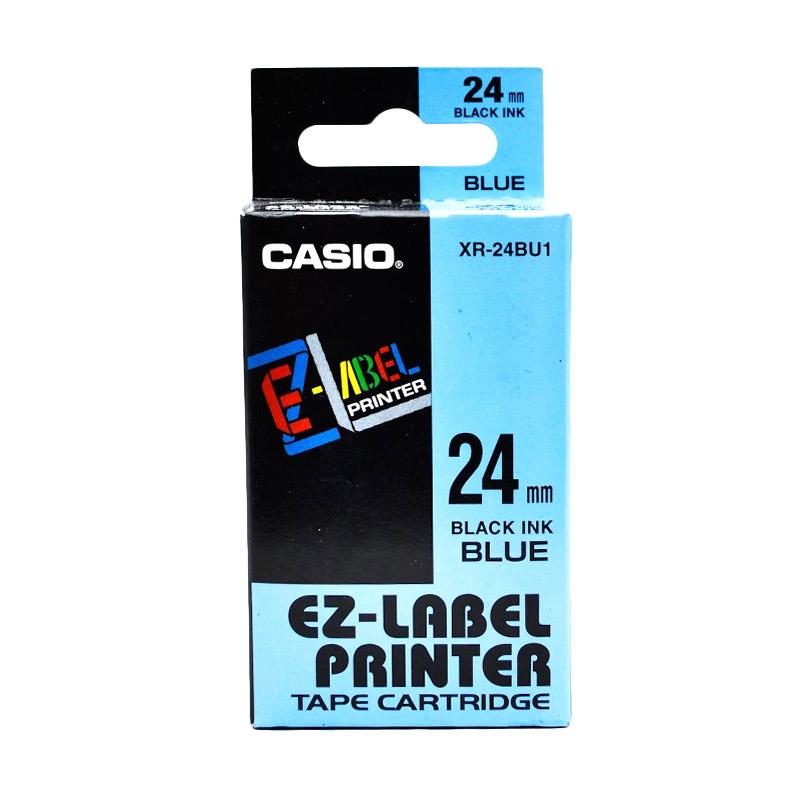 Casio XR-24BU1 Printer Label - Black On Blue [24 mm]