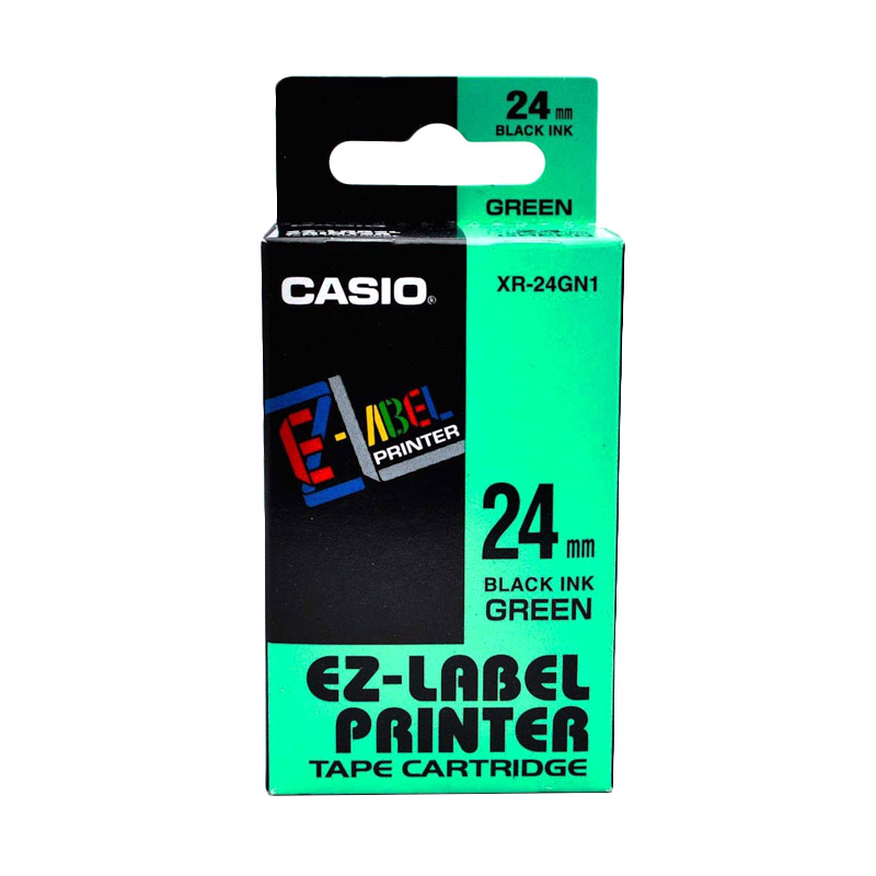 Casio XR-24GN1 Printer Label - Black On Green [24 mm]