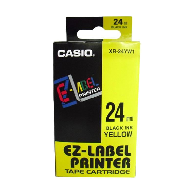 Casio XR-24YW1 Printer Label - Black On Yellow [24mm]