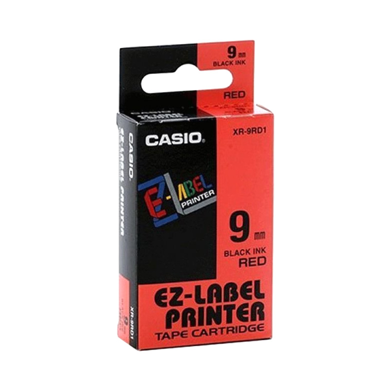 Casio XR-9RD1 Label - Black On Red [9 mm]