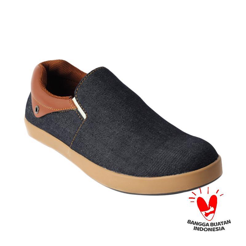 Catenzo Slip on Floki Dark Blue Sepatu Pria