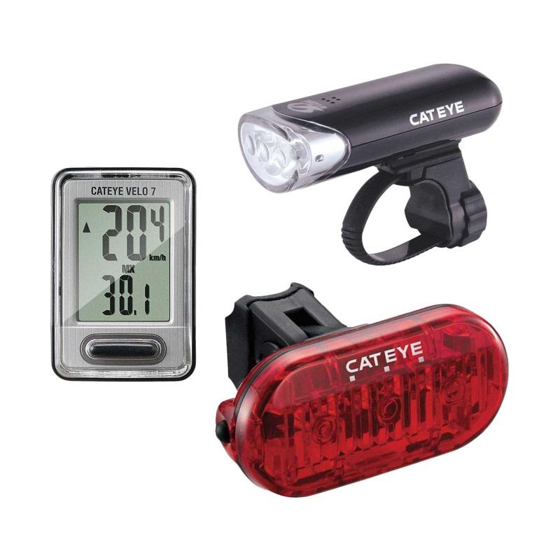 Cateye 3in1 Go-Kit Set Aksesoris Sepeda [EL135/VELO 7/OMNI 3]