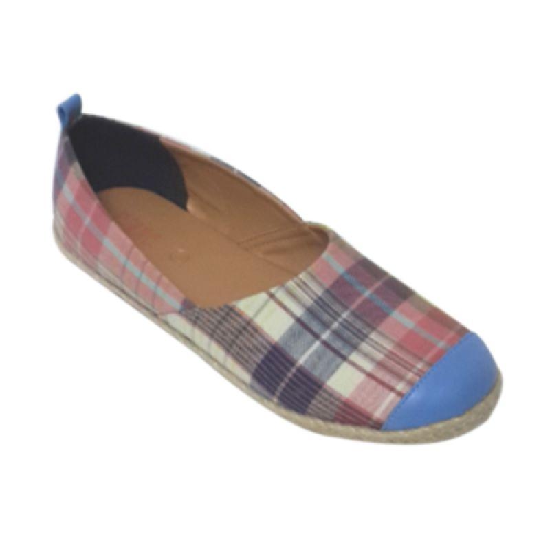 Caute Checkered Blue Sepatu Flat