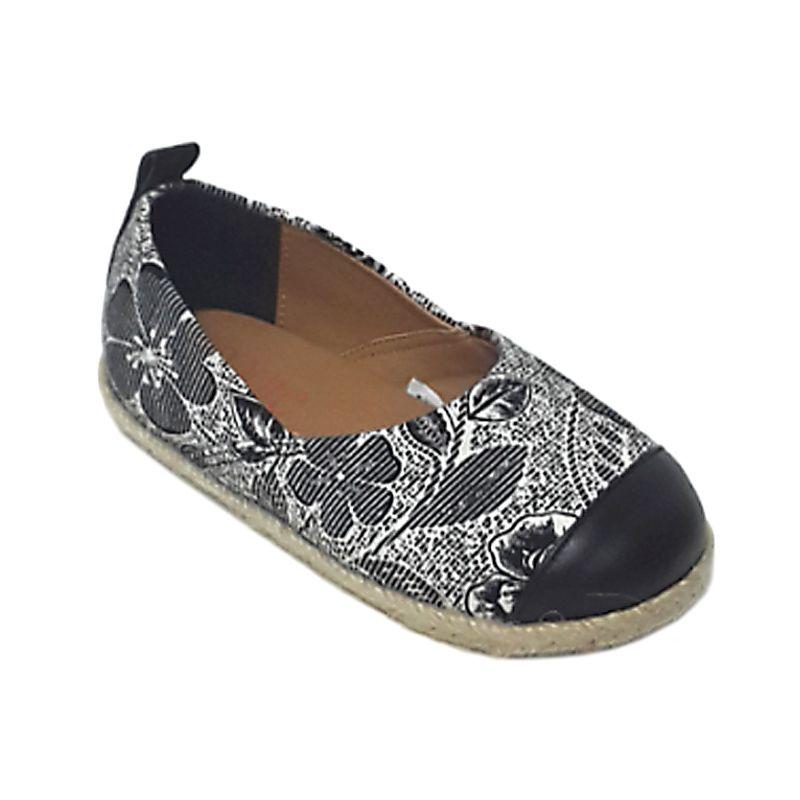 Caute Flower Black White Sepatu Flat Anak Perempuan
