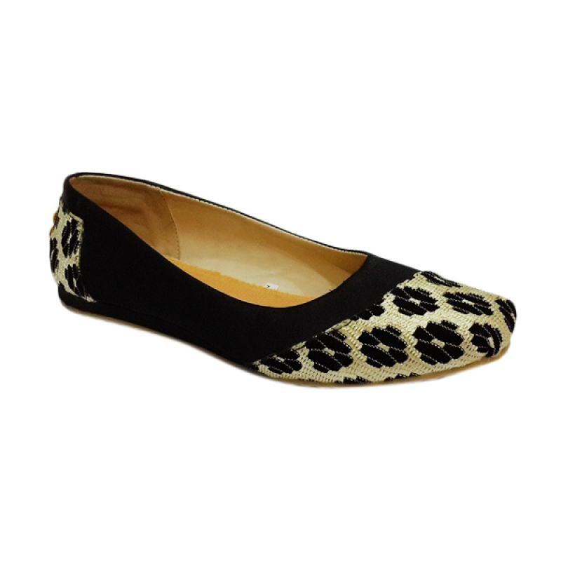 Caute Flowers Black & Gold Girls Flat - Sepatu Anak