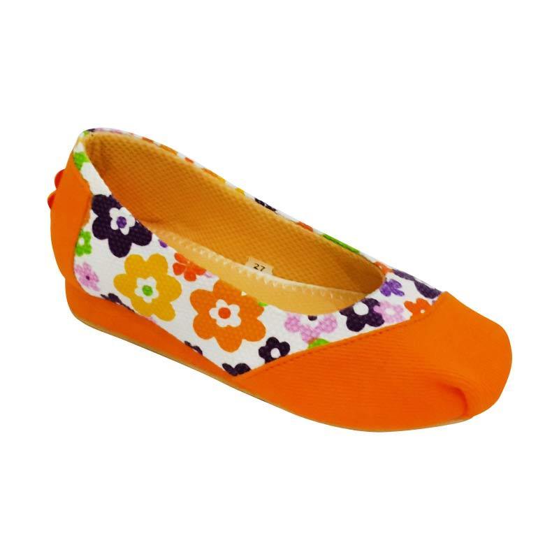Caute Girls Flats Flowers Orange