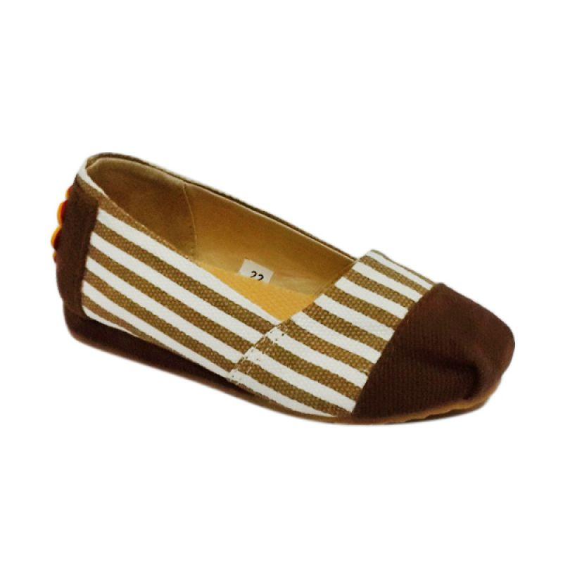 Caute Stripes Brown Girls Flat Sepatu Anak