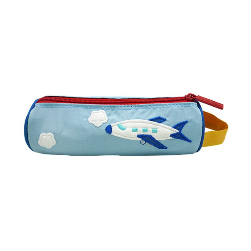 Char & Coll Berry Round Pencil Pouch Airplane Biru Tempat Pensil