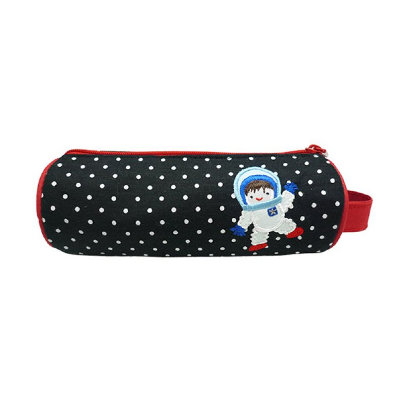 Char & Coll Berry Round Pencil Pouch Astronout Boy Hitam Tempat Pensil