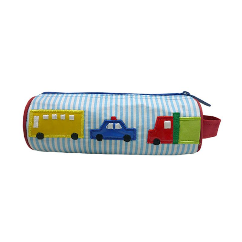 Char & Coll Berry Round Pencil Pouch Transportation Blue Tempat Pensil