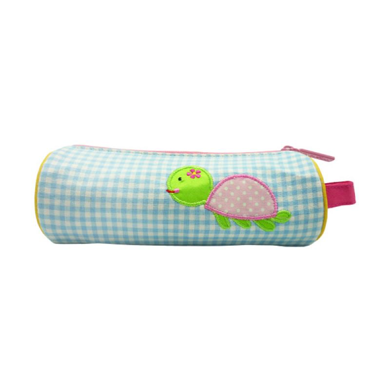 Char & Coll Berry Round Pencil Pouch Turtle Pink Tempat Pensil