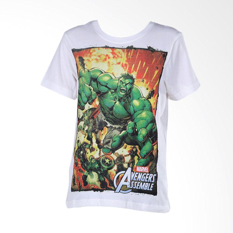Avengers Assemble Hulk White Atasan Anak