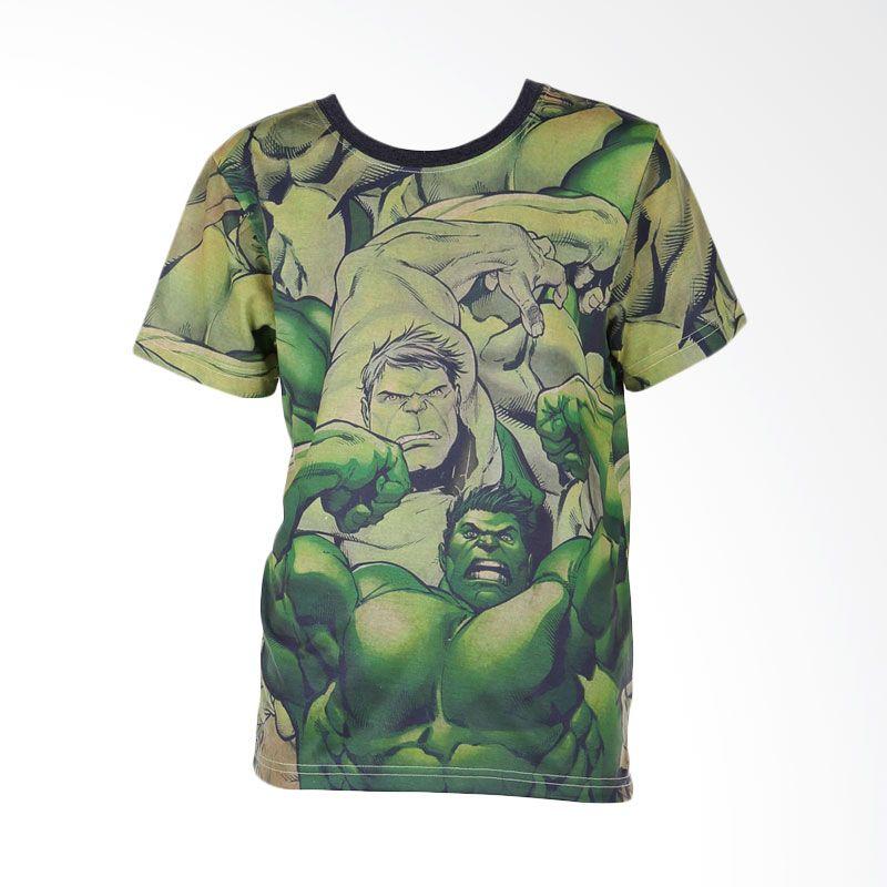 Avengers Hulk Full Print Green Baju Atasan Anak