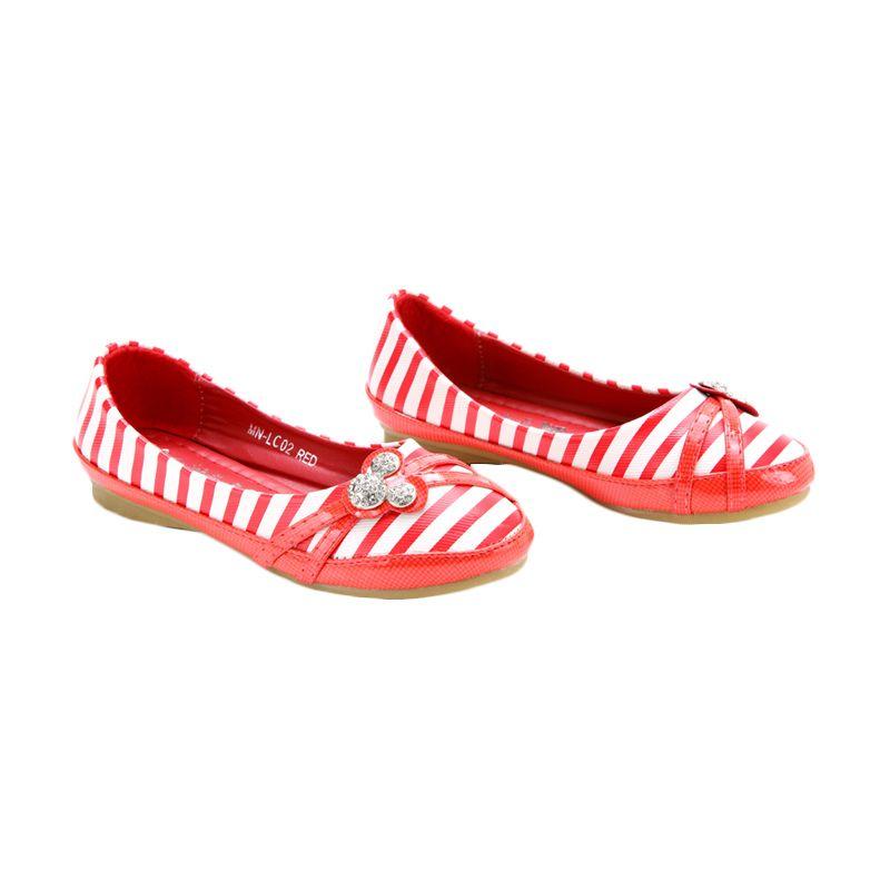 Disney Flat Minnie Mouse Red Sepatu Anak