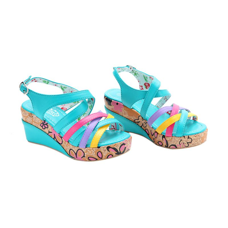Disney Wedges Strawberry Shortcake Line Blue Sepatu Anak