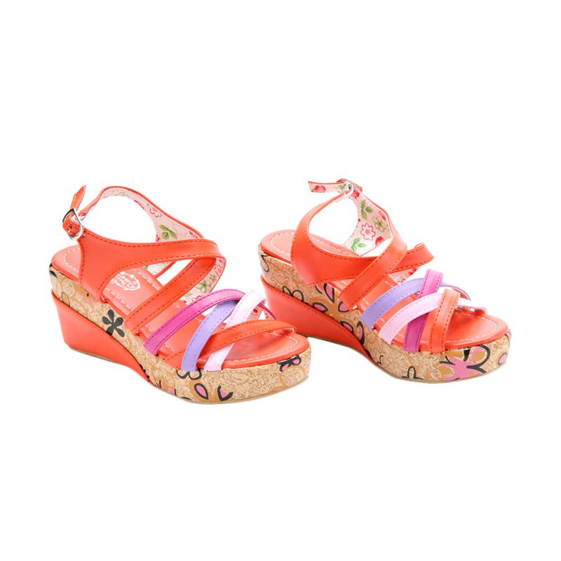 Disney Wedges Strawberry Shortcake Line Orange Sepatu Anak
