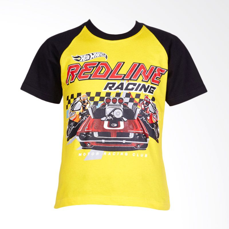 Hot Wheels Redline Racing Raglan Yellow Atasan Anak Laki-laki