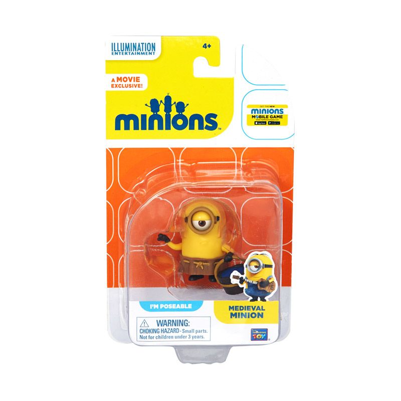 Minions Medieval Action Figure Articulated Yellow Mainan Anak
