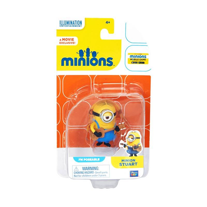 Minions Stuart Action Figure Articulated Yellow Mainan Anak