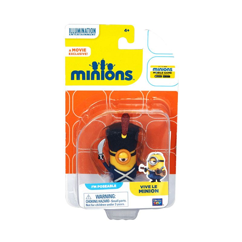 Minions Vive Le Action Figure Articulated Yellow Mainan Anak