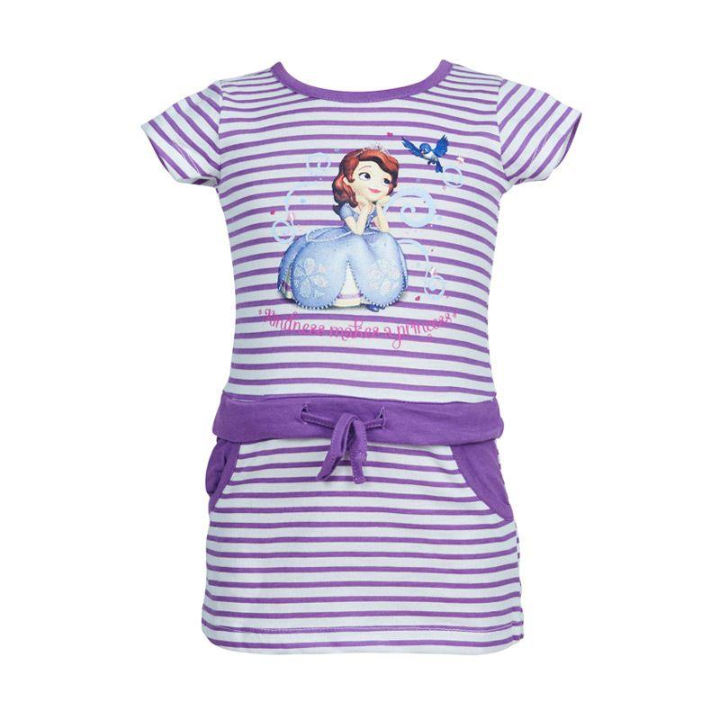 Sofia The First Stripe Purple Dress Anak