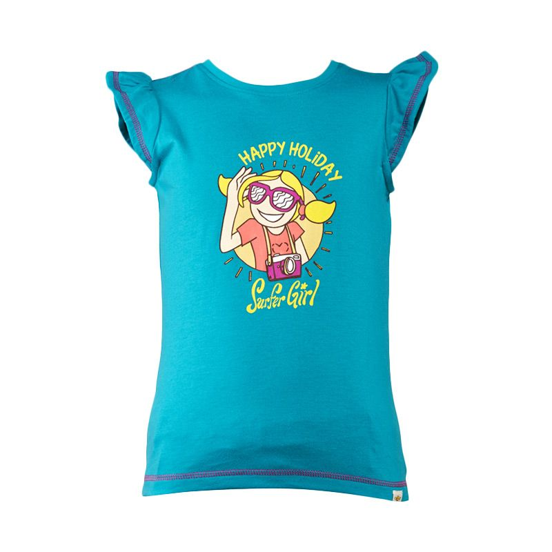 Surfer Girl Junior Glynis Top Basic Green Atasan Anak Perempuan