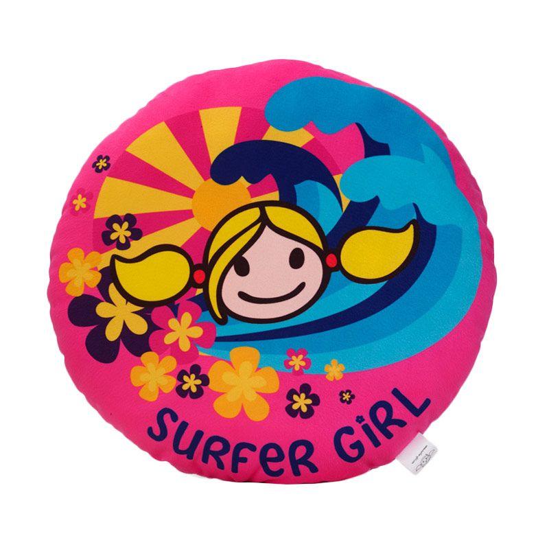 Surfer Girl Round Cushion Heart Pink Bantal