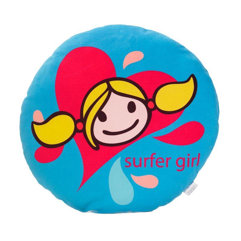 Surfer Girl Round Cushion Waves Blue Bantal