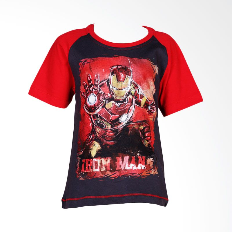 The Avengers Age of Ultron Iron Man Black Red Atasan Anak Laki-Laki