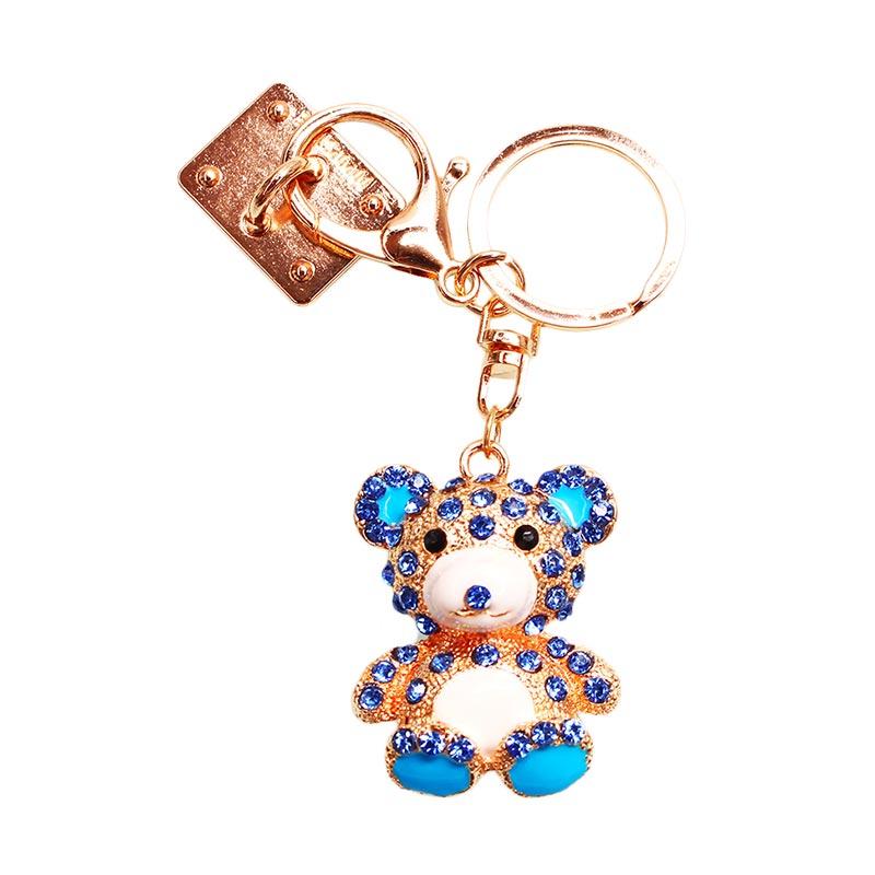 Charm Bear Diamond Gantungan Handphone - Blue