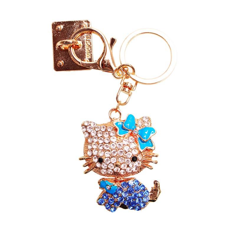 Charm Kitty Diamond Gantungan Handphone - Blue